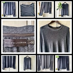Ralph Lauren Sweater w/ Leather Arm Patch. Gray XL